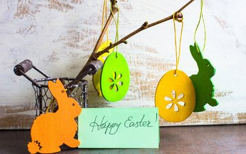 branch, figures, rabbits, easter, eggs, holiday, card, suspension
