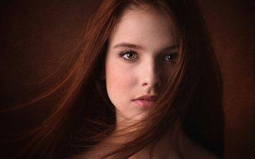 портрет, взгляд, волосы, лицо