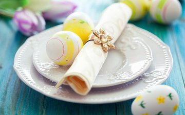 flowers, table, tulips, plates, easter, eggs, holiday, napkin