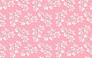 цветы, фон, узор, розовый, объем, 3д