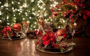 олень, бокал, игрушки, праздник, шампанское, декор