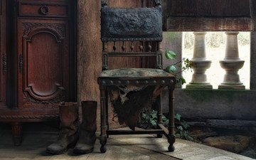 стул, шкаф, сапоги
