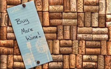 вино, записка, пробки