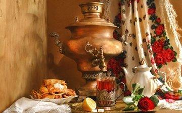 роза, лимон, чай, чайник, платок, блины, натюрморт, масленица, самовар, этно