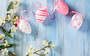 flowers, branch, wall, easter, eggs, holiday