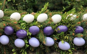 leaves, needles, branches, spruce, easter, eggs, holiday, garland, spruce branch, decor