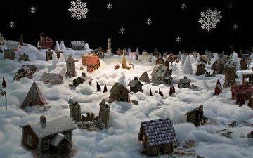 christmas, decoration, winter mood, gingerbread city