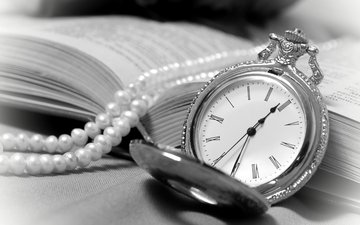 vintage, watch, book, necklace