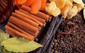 корица, ваниль, перец, цедра, имбирь, бадьян, лавровый лист