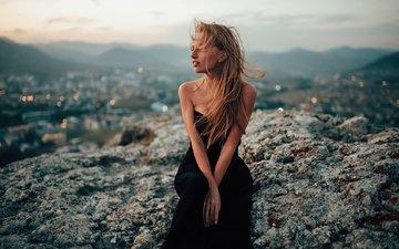девушка, платье, волосы, ветер, черное