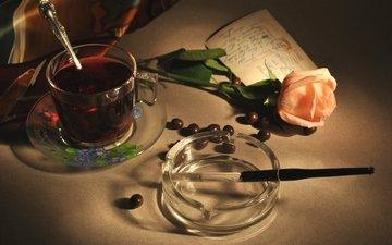 винтаж, роза, пепельница, чай, сигарета, мундштук, открытка