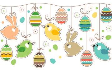кролики, пасха, яйца, птички