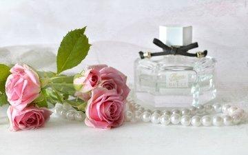 цветы, винтаж, розы, ожерелье, жемчуг, аромат, духи, флакон