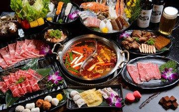 овощи, мясо, рыба, морепродукты, суп, ассорти, блюда, китайская кухня