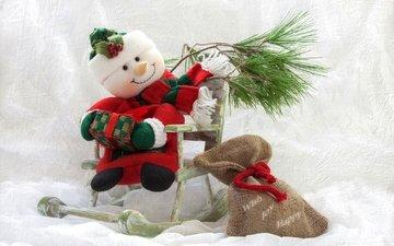 снеговик, мешок, сосна