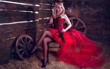 платье, блондинка, вампир, хеллоуин