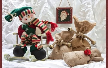 gifts, snowman, bags