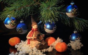 snowman, toys, tangerines, pine