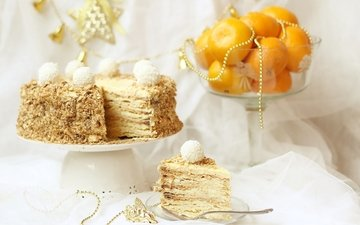 торт, мандарины, наполеон