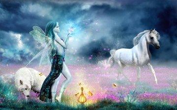 horse, girl, fairy, magic, wolf