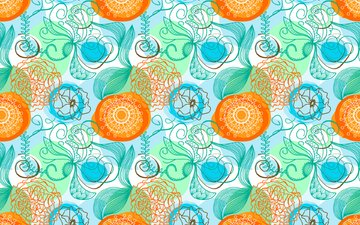 flowers, abstraction, line, pattern, blue, orange, bright