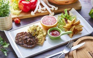 грибы, овощи, мясо, соус, грейпфрут, картофель, салат, ассорти, гриль