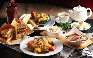бутерброд, овощи, десерт, рис, ассорти, блюда, паста