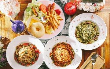овощи, чайник, картофель, ассорти, блюда, паста