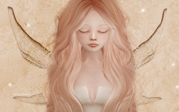 sadness, wings, girl, fairy, hair, elf, face