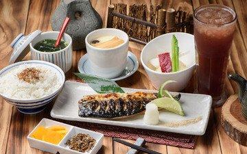 напиток, овощи, рыба, рис, морепродукты, ассорти