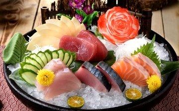 лёд, лайм, рыба, морепродукты, огурец, лосось, декор, вассаби, ассорти, тунец
