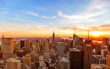 закат, небоскребы, валлпапер