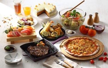 овощи, мясо, торт, соус, пицца, салат, суши, сок, ассорти, блюда
