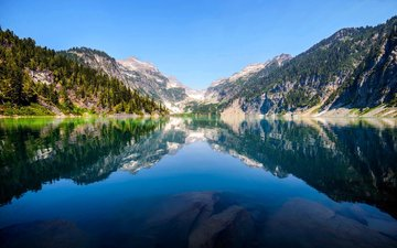 горное озеро, ландшафт, валлпапер