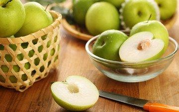 зелёный, яблоки, плод, фрукт