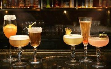 коктейль, напитки, бокалы, алкоголь