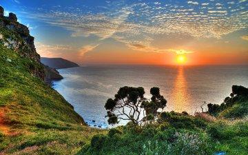 горы, закат, побережье, залив, бухта, валлпапер, дерево