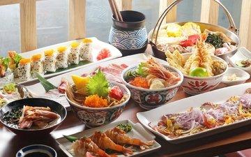 овощи, икра, суши, морепродукты, креветки, ассорти, блюда, китайская кухня