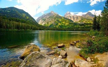 вода, камни, горное озеро, ландшафт, валлпапер