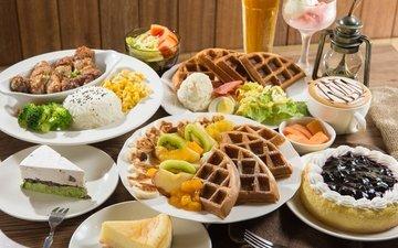 кофе, ягоды, овощи, киви, торт, десерт, рис, вафли, ассорти, блюда