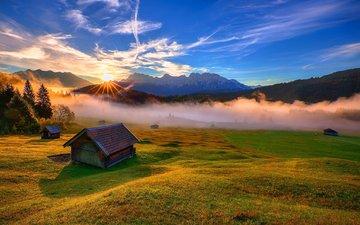 горы, восход, луг, валлпапер, fog туман
