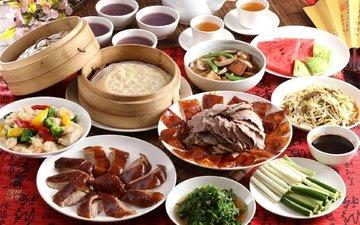 арбуз, овощи, мясо, чай, утка, соус, креветки, ассорти, блюда, тайваньская кухня