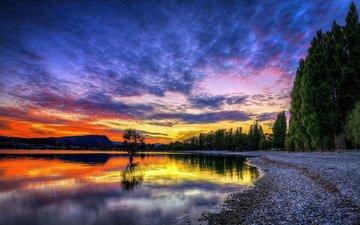 озеро, закат, ландшафт, лейка, валлпапер