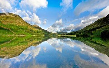 небо, облака, вода, озеро, горы, горное озеро, ландшафт, валлпапер, отражение неба в воде