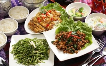 овощи, мясо, рис, салат, суп, ассорти, блюда, тайваньская кухня