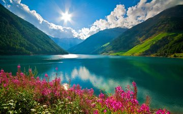облака, горное озеро, ландшафт, валлпапер
