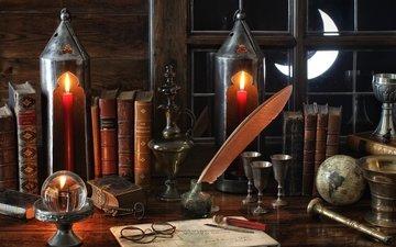lights, vintage, glasses, books, window, globe, a month, pen, still life, cup