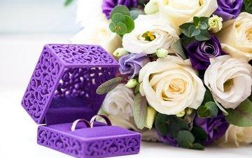 дизайн, розы, букет, кольца, свадьба, коробка, венчание, роз, короб