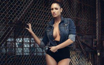 модель, сетка, грудь, решетка, фигура, позирует, белье, luciana, джинсовка, lucia javorcekova