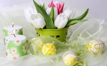 flowers, candles, tulips, easter, eggs, holiday